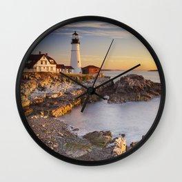 II - Portland Head Lighthouse, Maine, USA at sunrise Wall Clock