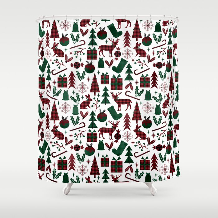 Plaid Antler Deer Stocking Christmas Pudding Trees Candy Canes Shower Curtain