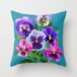 Bouquet of violets I Throw Pillow
