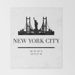 NEW YORK CITY NEW YORK BLACK SILHOUETTE SKYLINE ART Throw Blanket