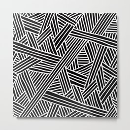 Abstract black & white Lines and Triangles Pattern - Mix and Match with Simplicity of Life Metal Print