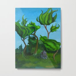 Robot in a Forest Painting Metal Print