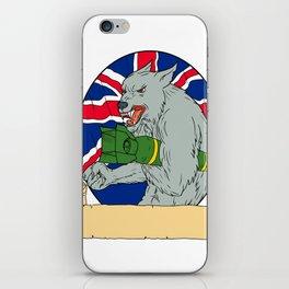 Grey Wolf Holding Bomb Union Jack Drawing iPhone Skin