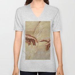 """Michelangelo """"Creation of Adam""""(detail) Unisex V-Neck"""