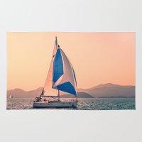 racing Area & Throw Rugs featuring  Yacht racing by Svetlana Korneliuk