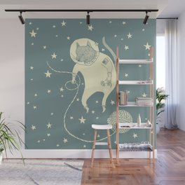 Sleepy Blue Space Cat Proves String Theory Wall Mural