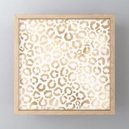 Elegant Gold White Leopard Cheetah Animal Print Framed Mini Art Print