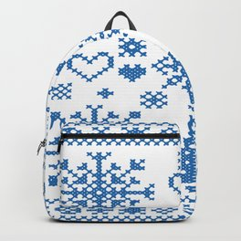 Christmas Cross Stitch Embroidery Sampler Teal And White Backpack