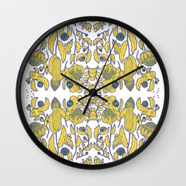 Portuguese tile of wild flowers Wall Clock