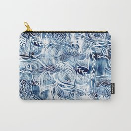 Modern navy blue tie die watercolor floral white boho hand drawn pattern Carry-All Pouch