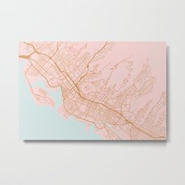 Honolulu map, Hawaii Metal Print