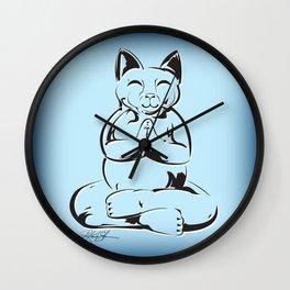 Buddha Cat Love Wall Clock