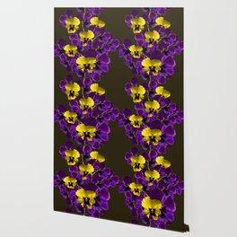 Purple And Yellow Flowers On A Dark Background #decor #buyart #society6 Wallpaper