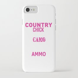 Country Chick Wearing Camo and Rocking Ammo T-shirt iPhone Case