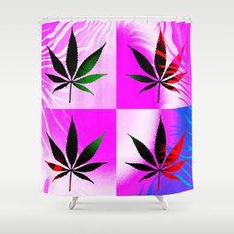 GreenRush - PopLeaf Pink Shower Curtain