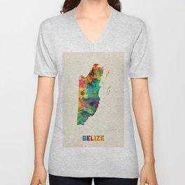 Belize Watercolor Map Unisex V-Neck