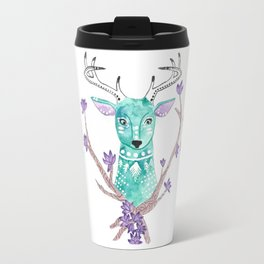 Floral Deer Travel Mug