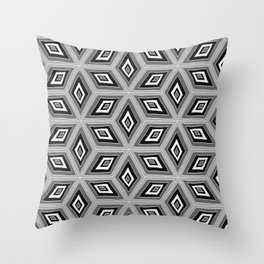Silver and Black Tilted Cubes Pattern Throw Pillow