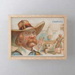 Vintage Charles Vane Pirate Portrait Illustration (1888) Framed Mini Art Print