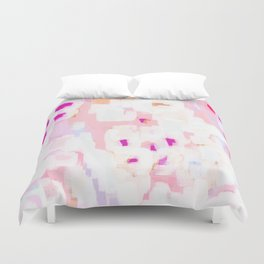 Netta - abstract painting pink pastel bright happy modern home office dorm college decor Duvet Cover