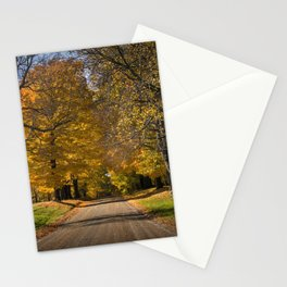 Rural country gravel road in Autumn Stationery Cards
