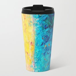 THE DIVIDE - Stunning Bold Colors, Ocean Waves Sun, Modern Beach Chic Theme Abstract Painting Travel Mug