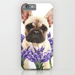 French bulldog and lavender iPhone Case