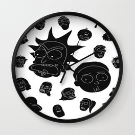 Rick and Morty whole cast (white) Wall Clock