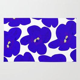 Blue Retro Flowers Rug
