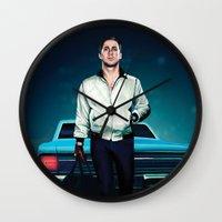 ryan gosling Wall Clocks featuring 'Drive' Ryan Gosling by Studio Caro △