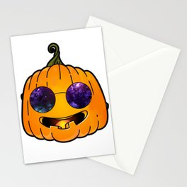 pumpkin glases galaxy Stationery Cards