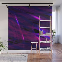 Rich purple and smooth sparkling lines of blueberry ribbons on the theme of space and abstraction. Wall Mural