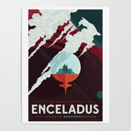 NASA Retro Space Travel Poster #3 - Enceladus Poster