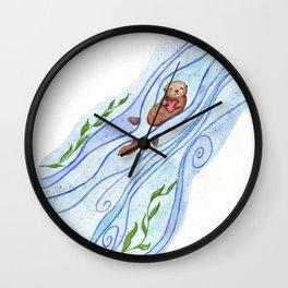 Sea Otter In Love Wall Clock