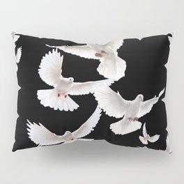 WHITE PEACE DOVES ON BLACK COLOR DESIGN ART Pillow Sham