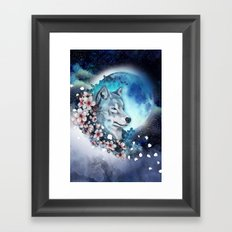 wolf and sakura in the moolight Framed Art Print