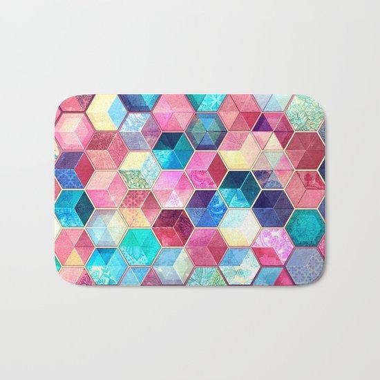 Topaz & Ruby Crystal Honeycomb Cubes Bath Mat