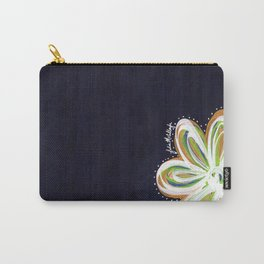 Navy and Gold Flower Carry-All Pouch