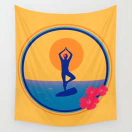 Yoga on a SUP - Paddle Board Wall Tapestry