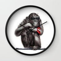ape Wall Clocks featuring Genius Ape by beart24