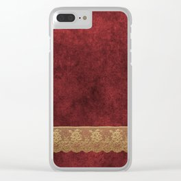 Red Lace Velvet 03 Clear iPhone Case