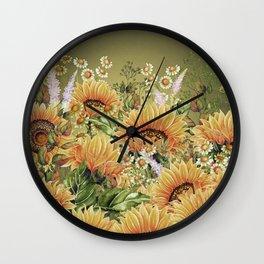 Vintage Garden 5 (Sunflower Field) Wall Clock