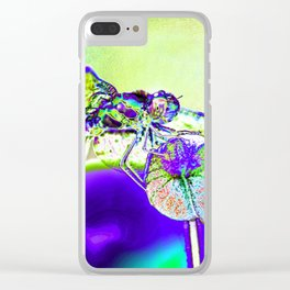 DRAGONFLY BLUE Clear iPhone Case