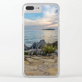 Scenic view of beautiful sunset above the Adriatic sea, Croatia Clear iPhone Case