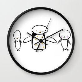 I Heart Penguins Wall Clock
