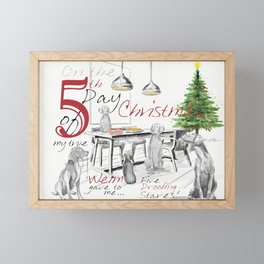 FIFTH DAY OF CHRISTMAS WEIMS Framed Mini Art Print