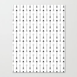 Black and White Arrows Pattern Canvas Print