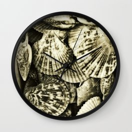 Vintage shell collection in sepia 2 Wall Clock
