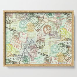 Passport Stamps Serving Tray