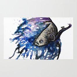 Galaxy Betta Fish Watercolor Rug